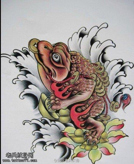 武汉纹身店推荐一组招财金蟾纹身图案大全图片