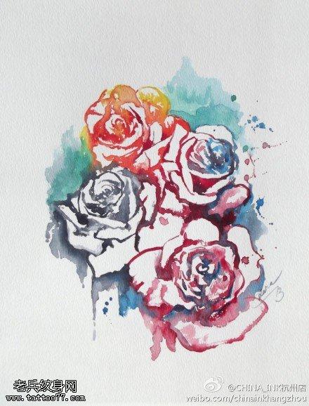 一款彩色水墨玫瑰花纹身手稿图案由武汉纹身提供
