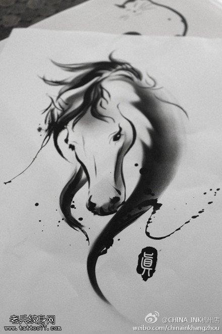 水墨风格纹身手稿