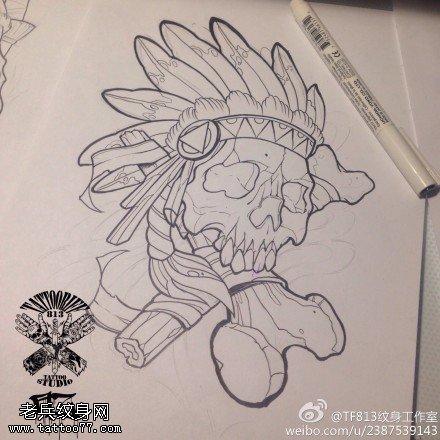 武汉纹身店推荐一款印度安骷髅头纹身手稿图案