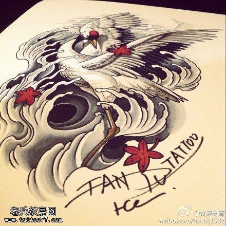 武汉最好的纹身馆推荐一款仙鹤纹身手稿图案