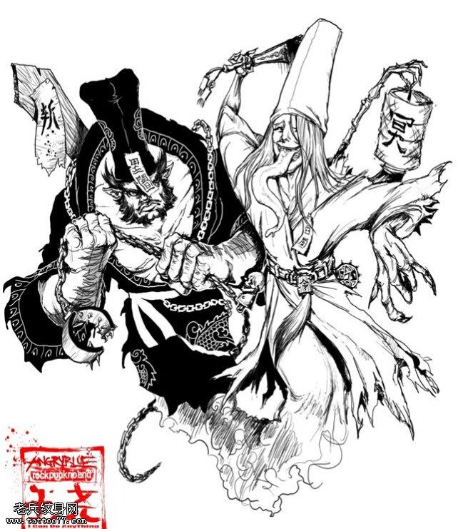 武汉刺青店推荐一款黑白无常纹身手稿图案