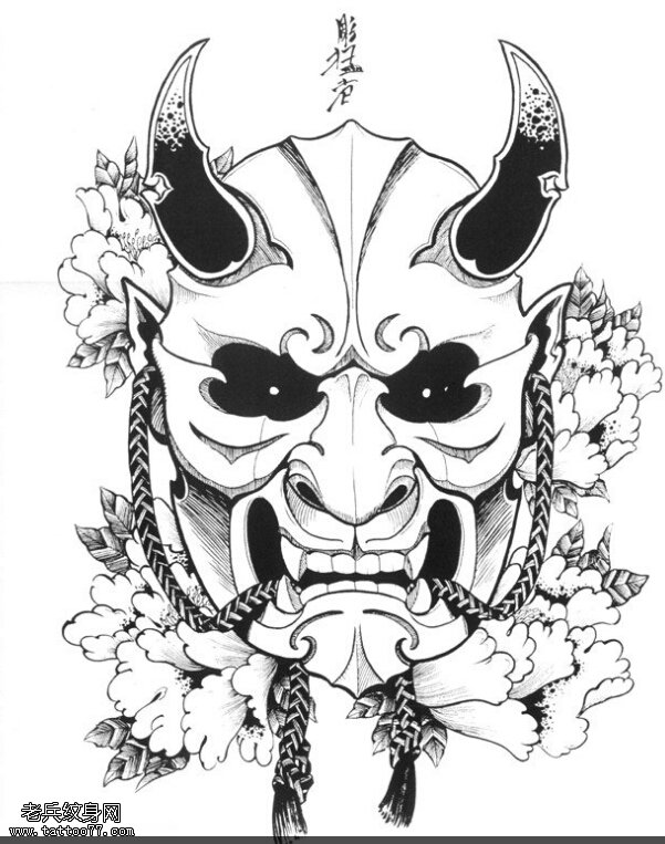 武汉纹身店推荐一组个性传统般若纹身手稿图案大全