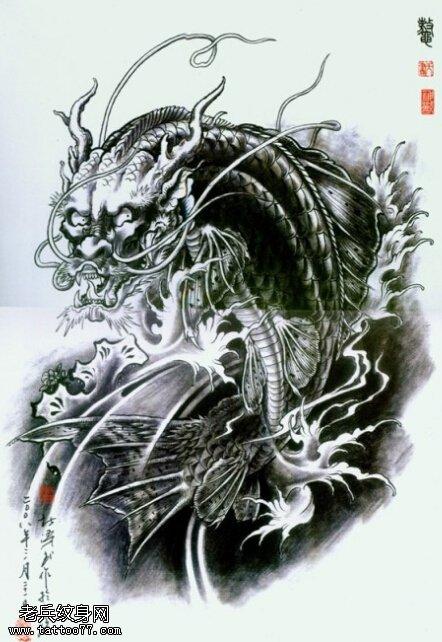 武汉纹身店推荐一款黑灰鳌鱼纹身手稿图案