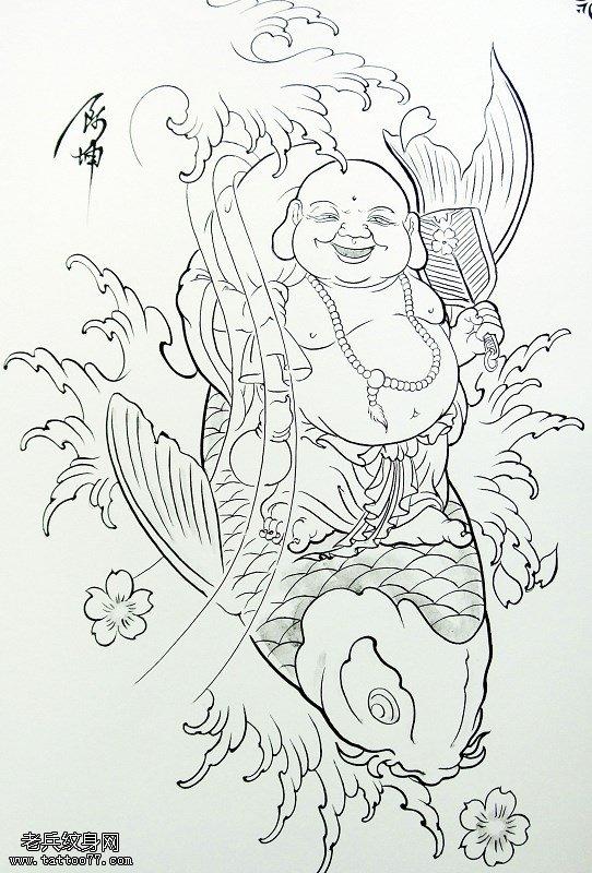 佛鲤鱼纹身手稿图案由武汉最好的纹身馆提供