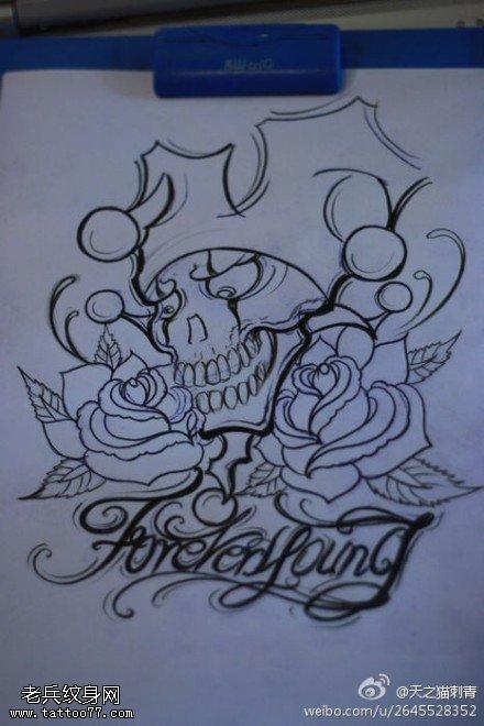 小丑玫瑰花字母纹身手稿图案
