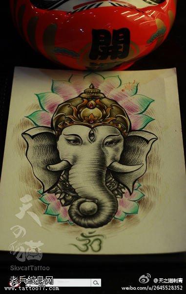 一款彩色樊花象神纹身手稿图案由武汉刺青店推荐图片