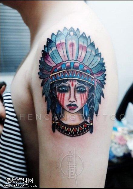 武汉纹身店推荐一款女性手臂oldcschool风格印第安女孩纹身图案图片