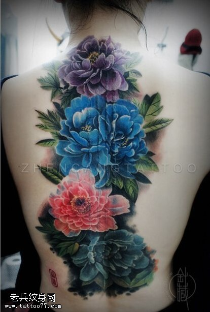 牡丹玫瑰百合纹身图案图片  申明:此图案是为了提供给纹身爱好者欣赏,图片均来自互联网如有异议,请联系本站