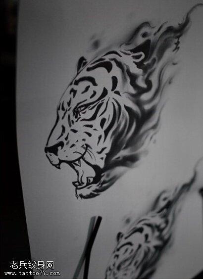 老虎头纹身手稿图案