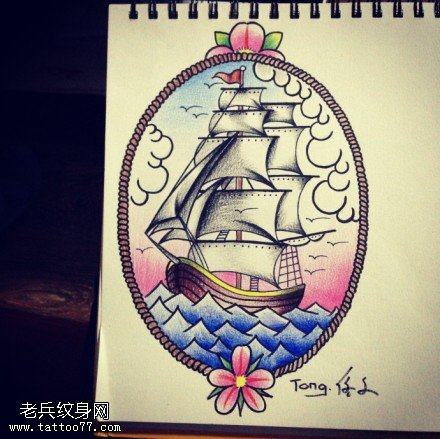 帆船纹身手稿图片