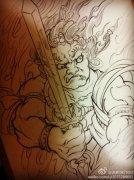 武汉最好的纹身店推荐一款鬼武士纹身手稿图案图片