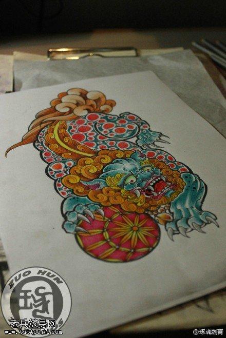 武汉纹身店推荐一款彩色传统唐狮纹身手稿图案