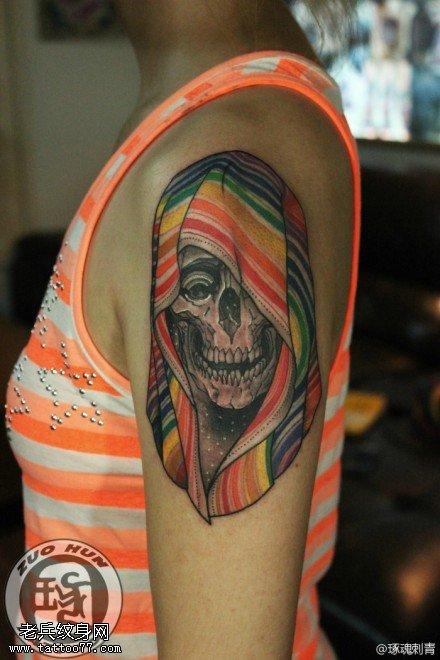 手臂欧美彩色骷髅纹身图案