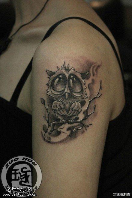 女性手臂猫头鹰纹身图案