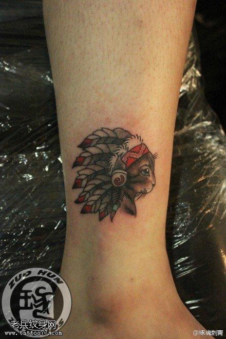 脚踝印度安猫咪纹身图案