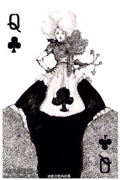 一组个性的扑克牌纹身手稿图案由武汉纹身提供