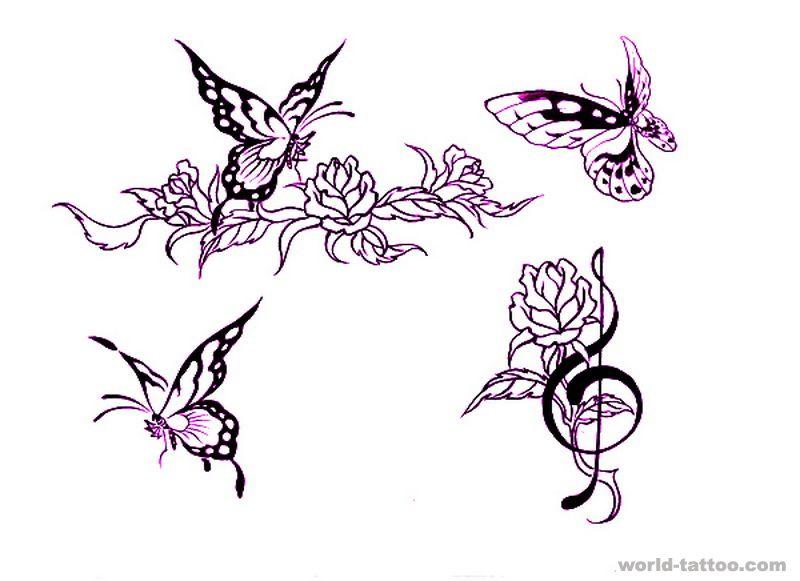 图腾纹身图案大全:图腾蝴蝶音符玫瑰纹身图案图片图片