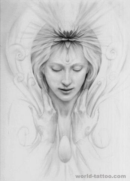 天使纹身图案大全:素描天使纹身图案图片