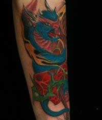 遮盖失败纹身——手臂欧美龙纹身图案作品