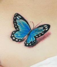 疤痕遮盖——腰部蝴蝶纹身图案作品