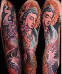 纹身 武汉/2010年4月纹身作品:传统花臂观音纹身图案作品