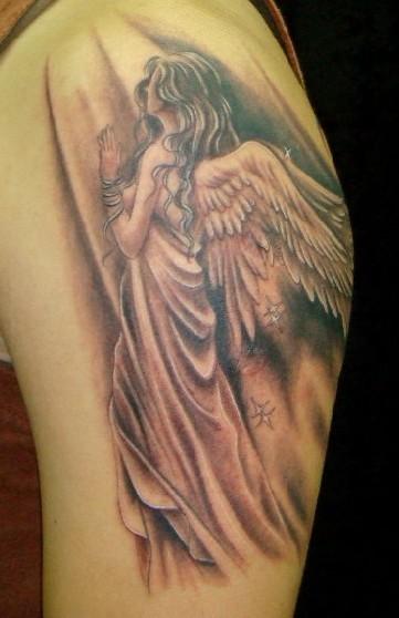 天使纹身图案大全:手臂天使翅膀纹身图案纹身图片