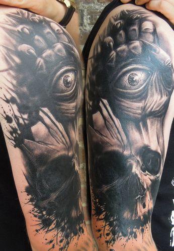 骷髅纹身图案:手臂欧美骷髅纹身图案纹身图片