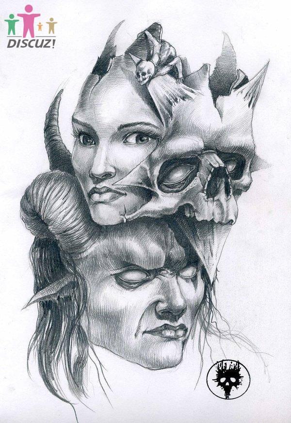 美女骷髅纹身图案手稿