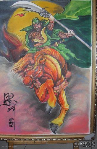 关公纹身图案:彩色战马关公纹身图案纹身图片