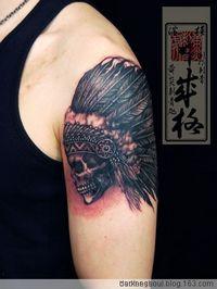 大臂骷髅纹身