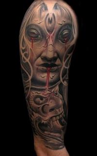 欧美经典大臂魔鬼纹身图案
