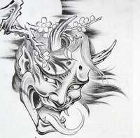 传统纹身图片:日本般若樱花纹身图片