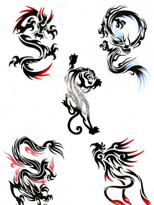 一组很柔美的图腾龙纹身图案龙图腾纹身图片分享