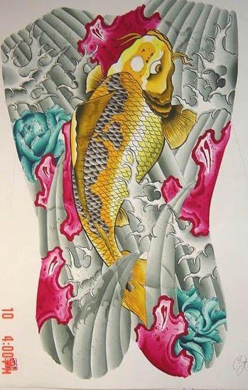 满背鲤鱼纹身图案