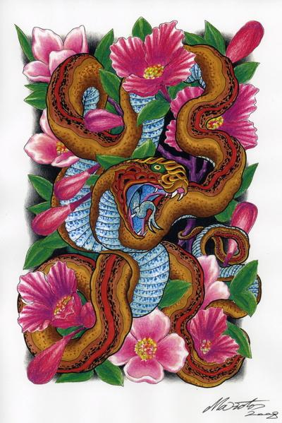 满背蛇纹身图片