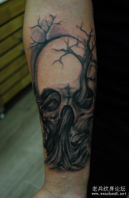 纹身图案:男人纹身图案大全之骷髅纹身图案大全-黑白骷髅纹身图案图片