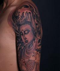 纹身 武汉/武汉纹身:大臂观音纹身图案作品