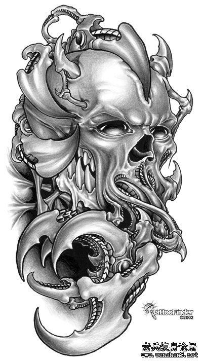 欧美3d纹身图案:机械恶魔骷髅纹身图案大全
