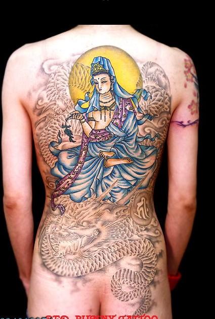 武汉纹身图案:满背观音龙纹身图案图片