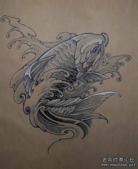 鲤鱼纹身图案大全:鲤鱼纹身图案纹身图片