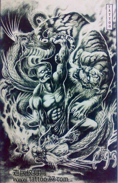 时尚经典的金刚力士菩萨纹身