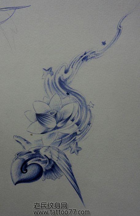 翅膀纹身手稿