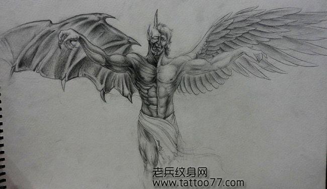 时尚经典的天使恶魔纹身手稿图片