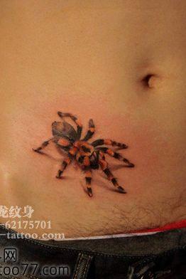 腹部黑灰传统蜘蛛般若纹身图案