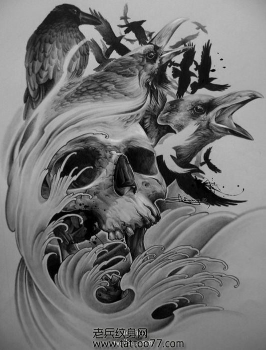超酷的骷髅乌鸦纹身图案