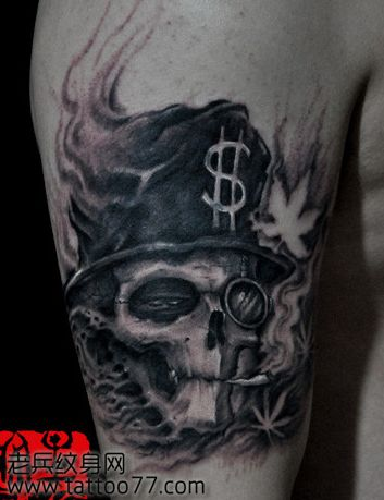 一款手臂超酷的骷髅纹身图案