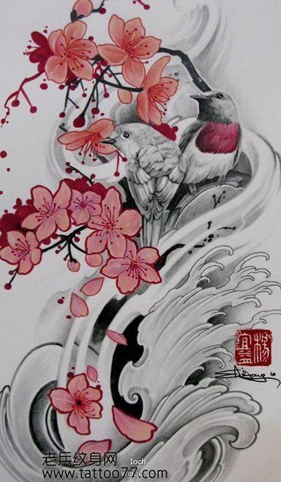 唯美好看的樱花纹身图案