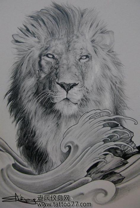 一款霸气经典的狮子头纹身图案
