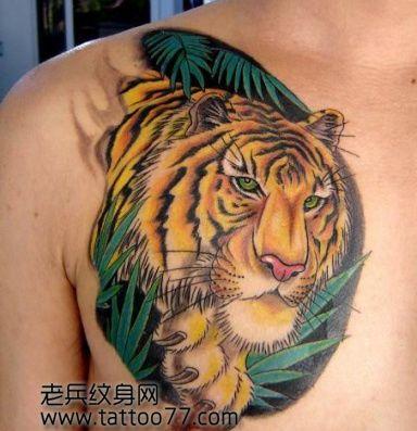 胸部霸气的虎头纹身图案
